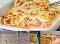 Simple, quick and tasty: Baked toasted bread with ham and cheese – delicious! Simple, quick and tasty: Baked toasted bread with ham and cheese – delicious! Sandwich Recipes, Pizza Recipes, Cooking Recipes, Bread Toast, Portuguese Recipes, Ham And Cheese, Baked Cheese, Love Food, Sandwiches