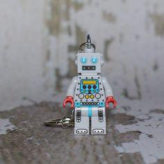 Retro Robot LEGO key chain by boxhounds on Etsy, $10.00