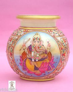 marble pot vase stone Home Decor Diwali Gift Ganesha Lashmi Hindu God craft. One side of Pot Lord Ganesha painted and another side of pot Goddess Laxmi painted .