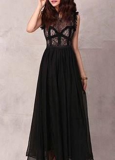 Lace and Chiffon Black Sleeveless Long Dress