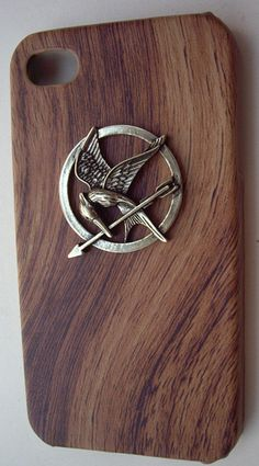 The Hunger Games Logo Mockingjay pendant Wooden Look iPhone 4/4S case, Apple iPhone 4 Case, iPhone 4s Case, iPhone 4 Hard Case  @mmpepping check for 3version.