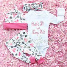 Newborn Baby Girls Outfit Clothes Romper Jumpsuit Bodysuit Pants Hat Headband UK