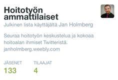 Twitterissä Hoitotyön ammattilaiset listalla jo yli sata nimeä! Helpottaa verkostoitumista ja twiittaamista. https://twitter.com/holmberg_j/lists/hoitotyön-ammattilaiset  #hoitotyö #hoitaja #Twitter