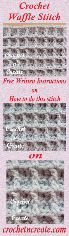A free written crochet tutorial for waffle stitch. #crochet
