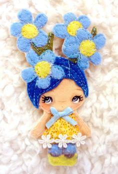 ORIGINAL FAIRY ART Blue Forget-Me-Nots Flowers Art Doll Pin Brooch Girl Big Eye