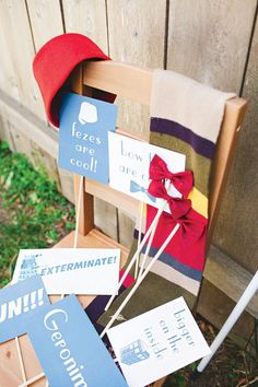 A Doctor Who Themed Gender Neutral Baby Shower with bow tie cookies, jelly babies, photo booth props, tardis + dalek cake, cybermen cookies + other doctor detai