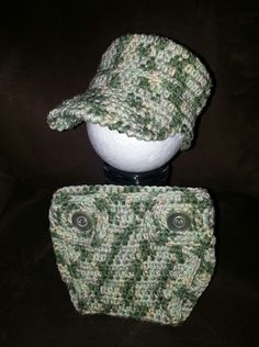Baby Military Hat and Diaper Cover 0-3 Month Size  Perfect for a baby shower gift or photo prop