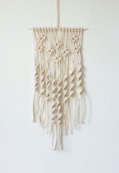 Macrame Wall Hanging - Small Twisted (White/White) #004 by DecorativeCow on Etsy