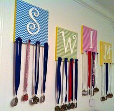 creative ways to display medals and ribbons | DIY Swim Medal and Accessory Holder - Easy and creative way to display ...