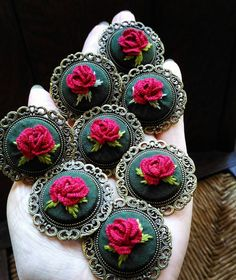 Happy Valentine's day🌹💐💕 Hand Embroidery Patterns Flowers, Ribbon Embroidery Tutorial, Hand Embroidery Videos, Learn Embroidery, Hand Embroidery Stitches, Embroidery Jewelry, Embroidery Art, Embroidery Designs, Creative Embroidery