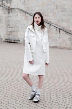 White leather jacket/ futuristic fashion clothes/ minimalist handmade coat…