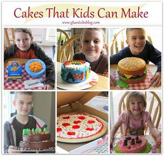 Cake decorating isn't hard! Here are a bunch of cakes that kids can make using simple kitchen tools and a few basic cake decorating supplies.