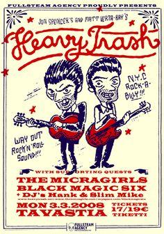Illustration for Jon Spencer's & Matt Verta-Ray's Heavy Trash poster and t-shirt. Design by Sami Vähä-Aho Jon Spencer Blues Explosion, Type Design, Logo Design, Heavy Trash, Rock And Roll, Movie Posters, Filter, Illustrations, Pop