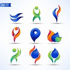 3d abstract color logos