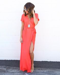 Solid Bardot Wrap Dress - Sunrise