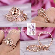 Round Morganite Engagement Ring Sets Floral Wedding Band 14K Rose Gold 7mm