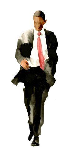 David Choe Barack Obama Watercolor Painting