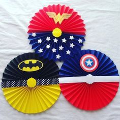 Avengers Party Decorations, Birthday Decorations At Home, Wonder Woman Birthday, Wonder Woman Party, Girl Superhero Party, Hero Crafts, Avengers Birthday, Folded Book Art, Kids Party Themes