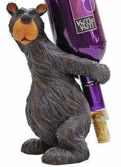 Willie Black Bear Wine Bottle Holder, Standing bear wine bottle holder Wine bottle not included Makes a great housewarming gift Item Size: x x Novelty Gifts For Men, Moose Decor, Bear Decor, Log Cabin Furniture, Bear Theme, Wine Decor, Rustic Decor, Wine Bottle Holders, Wine Bottles