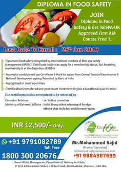 GWG offering diploma in food safety at beneficial cost  http://greenwgroup.co.in/training-courses/diploma-in-food-safety/  #diplomainfoodsafety