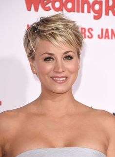 Kaley Cuoco - soft pink lip and short choppy textured blonde hair