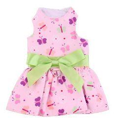 Pink Butterflies Dog Dress- Perfect Summer Dog Clothes