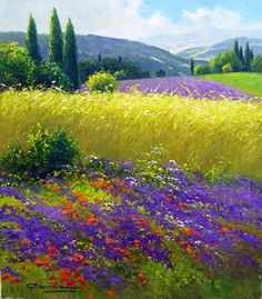 """Wheatfields & Mountains of Tuscany"" by Gerhard Nesvadba"