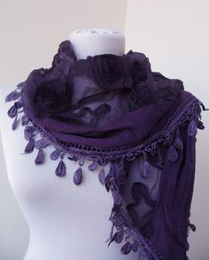 Purple Lace Scarf  Flower Rose Scarf  Cowl Scarf  by ScarfBeauty, $24.90