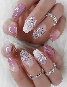 Love it nail dedigns – Acyrlic Nails Elegant Nails, Classy Nails, Fancy Nails, Stylish Nails, Trendy Nails, Blush Nails, Pink Nails, Gel Nails, Acyrlic Nails