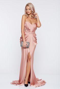 Ana Radu asymmetrical peach dress with push-up bra from wrinkled fabric, back zipper fastening, push-up bra, wrinkled fabric, satin fabric texture