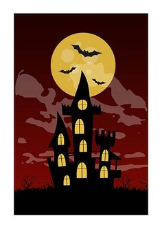 Halloween Creepy House with Moon Ready to Print Party Poster