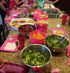 Bachelorette party- food, pink plates, decorations