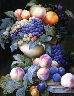 """""""Grapes in a Vase""""  by Pierre-Joseph Redoute"""