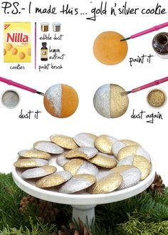 Cover your cookies with metallic dust. | 51 DIY Ways To Throw The Best New Year's Party Ever