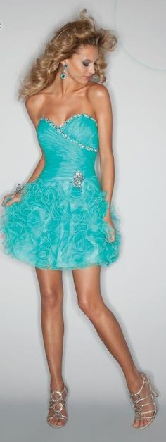 """Mori Lee by Madeline Gardner, """"Sticks & Stones"""" Aqua Evening Gown: Organza with beading (9191)"""