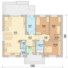 Plan casa 106 mp cu 3 dormitoare House Construction Plan, Ground Floor Plan, Home And Living, Bungalow, House Plans, Minimalism, Desktop, Floor Plans, House Design