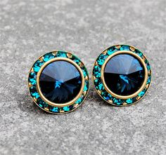 Navy Blue Teal Stud Earrings Beach Wedding Swarovski by MASHUGANA