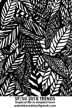 TRENDS SPRING/SUMMER 2018 BLACK AND WHITE TROPICAL LEAF PATTERN SURFACE DESIGN PRINT