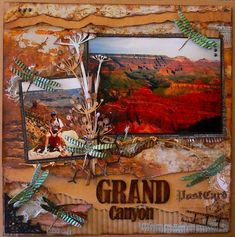 Travel scrapbooking, scrapbook layout, page, vacation, Grand Canyon, Arizona #vacationscrapbook