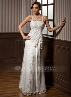 Wedding Dresses - $186.99 - A-Line/Princess Sweetheart Floor-Length Satin Tulle Wedding Dress With Lace Beading Bow(s) (002014262) http://jjshouse.com/A-Line-Princess-Sweetheart-Floor-Length-Satin-Tulle-Wedding-Dress-With-Lace-Beading-Bow-S-002014262-g14262