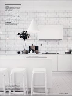 All white kitchen - white subway tiles - The home of Lotta Agaton Interior Design Kitchen, Kitchen Flooring, Interior Design, All White Kitchen, Home Kitchens, Painted Kitchen Floors, Interior, Kitchen Design, Home Decor