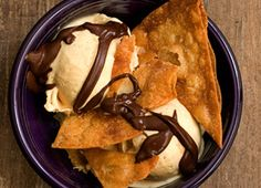 Caramel Sundae with Cinnamon Sugar Chips - An adult take on the childhood staple, this sundae combines caramel ice cream with a bittersweet chocolate sauce and crispy cinnamon-sugar chips.
