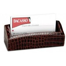 Desk Supplies>Desk Set / Conference Room Set>Holders>Business card Holders: Brown Crocodile Embossed Business Card Holder