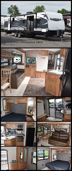 With this 2016 KEYSTONE RV SPRINGDALE 38FQ travel trailer, play as hard as you can and relax as much as you want. The 38FQ features a double slide, sliding glass doors, a queen bed, an entertainment center and a rear bathroom with a shower, sink and toilet and much more!