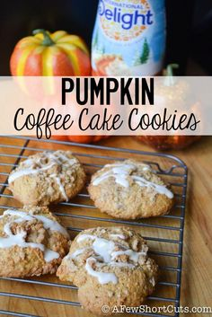 Pumpkin Coffee Cake Cookies The ultimate fall cookie! Grab a cup of coffee and whip up this Pumpkin Coffee Cake Cookies Recipe! A great afternoon treat! Cookie Desserts, Just Desserts, Cookie Recipes, Dessert Recipes, Coffee Cake Cookies, Pumpkin Coffee Cakes, Pumpkin Recipes, Fall Recipes, Pumpkin Foods