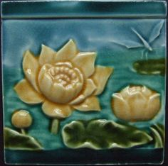 West Side Art Tiles - White water lilies with dragonfly