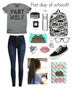 """""""First day of school!!"""" by be-robinson ❤ liked on Polyvore featuring Vans, Bling Jewelry, Pusheen, Lime Crime, Ray-Ban and Dot & Bo"""