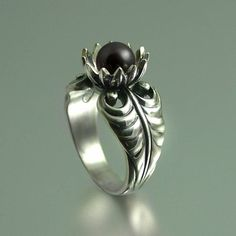 LOTUS silver ring with Black Pearl by WingedLion on Etsy, $175.00