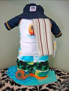 Surfer baby diaper cake!
