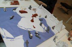 MIA's 2012 Doors Open Toronto collaborative project: Arctic Landscape. Owl Preschool, Arctic Landscape, Penguin Craft, Arctic Animals, Door Opener, Craft Projects, Craft Ideas, Art Activities, Basket Weaving